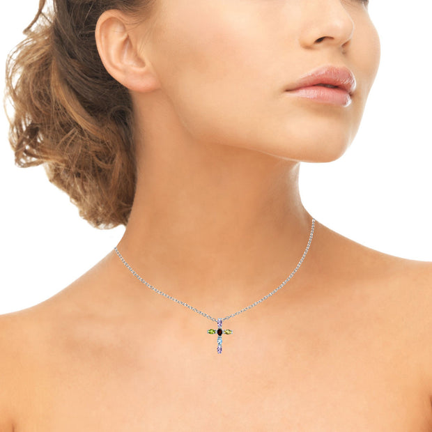 Sterling Silver Multi Color Gemstone Oval-Cut Cross Pendant Necklace with White Topaz Accents