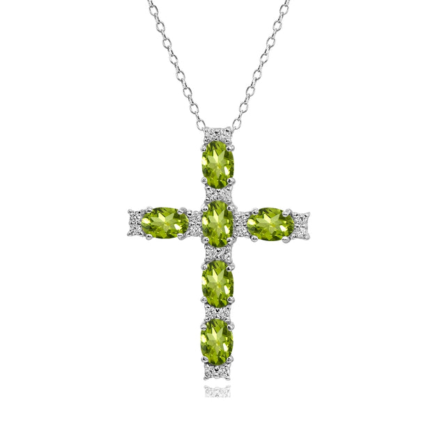 Sterling Silver Peridot Oval-Cut Cross Pendant Necklace with White Topaz Accents