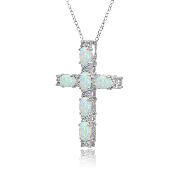 Sterling Silver Created White Opal Oval-Cut Cross Pendant Necklace with White Topaz Accents