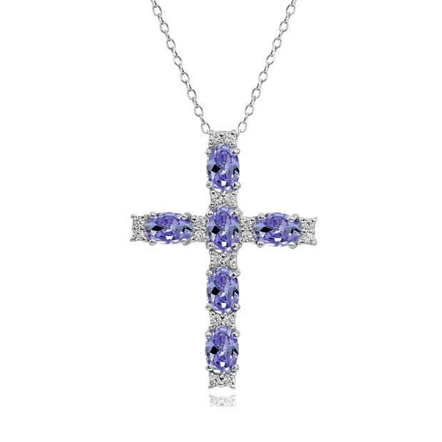 Sterling Silver Tanzanite Oval-Cut Cross Pendant Necklace with White Topaz Accents