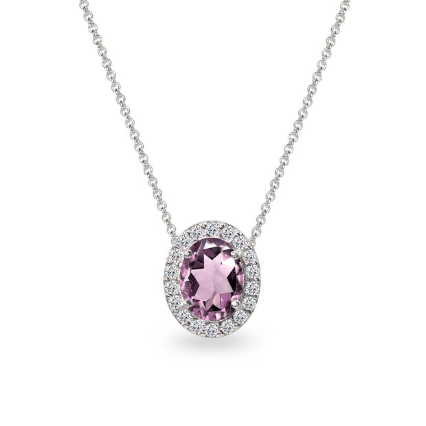 Sterling Silver Created Alexandrite Oval Halo Slide Pendant Necklace with CZ Accents