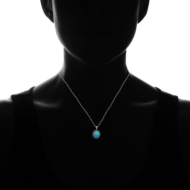 Sterling Silver Created Turquoise Oval Bezel-Set Oxidized Bali Bead Pendant Necklace