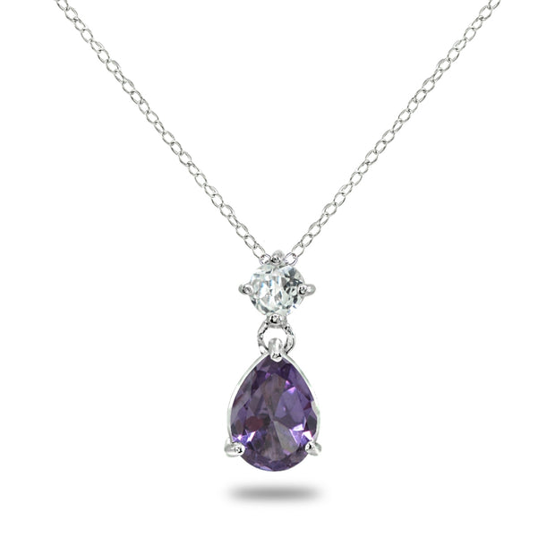 Sterling Silver Created Alexandrite & White Topaz 9x7mm Teardrop Slide Dangling Necklace