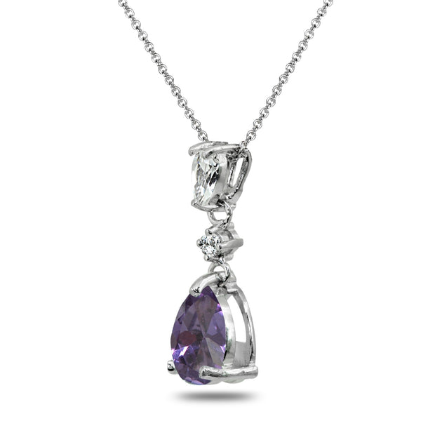 Sterling Silver Created Alexandrite & White Topaz Teardrop Dangling Drop Pendant Necklace