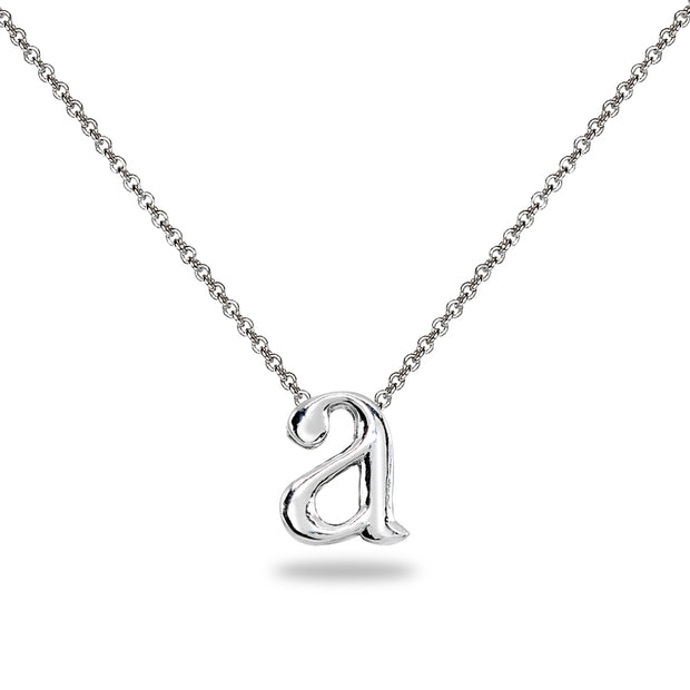 "Sterling Silver A Letter Initial Alphabet Name Personalized 925 Silver Necklace, 15"" + Extender"