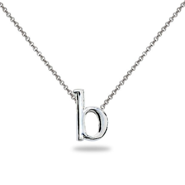 "Sterling Silver B Letter Initial Alphabet Name Personalized 925 Silver Necklace, 15"" + Extender"