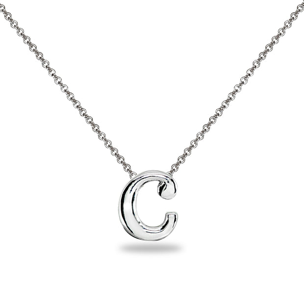 "Sterling Silver C Letter Initial Alphabet Name Personalized 925 Silver Necklace, 15"" + Extender"