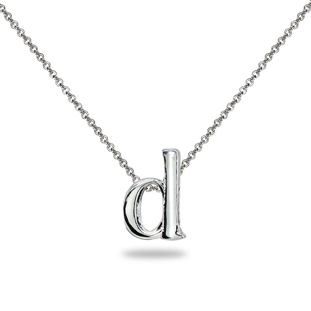 "Sterling Silver D Letter Initial Alphabet Name Personalized 925 Silver Necklace, 15"" + Extender"