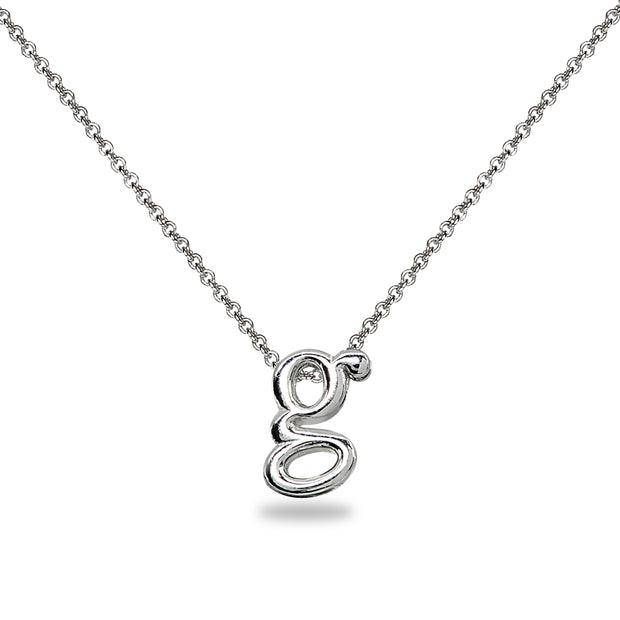 "Sterling Silver G Letter Initial Alphabet Name Personalized 925 Silver Necklace, 15"" + Extender"
