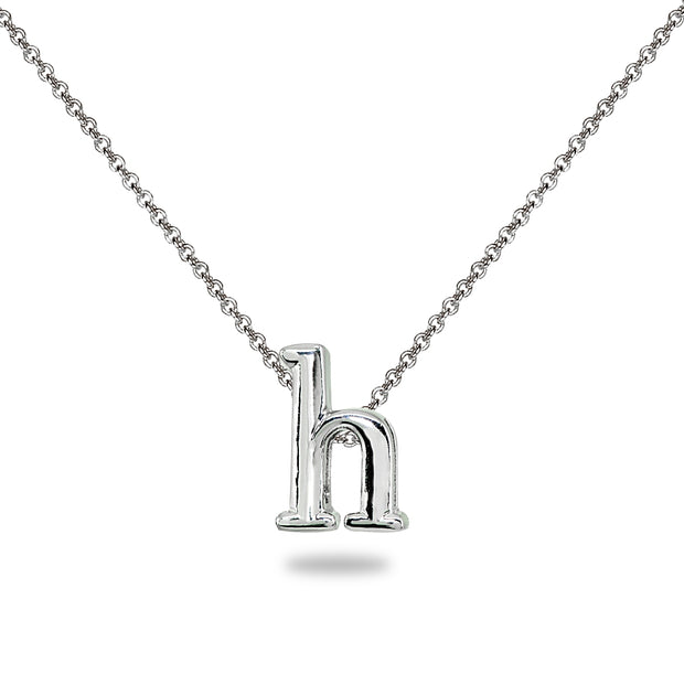 "Sterling Silver H Letter Initial Alphabet Name Personalized 925 Silver Necklace, 15"" + Extender"