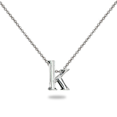 "Sterling Silver K Letter Initial Alphabet Name Personalized 925 Silver Necklace, 15"" + Extender"