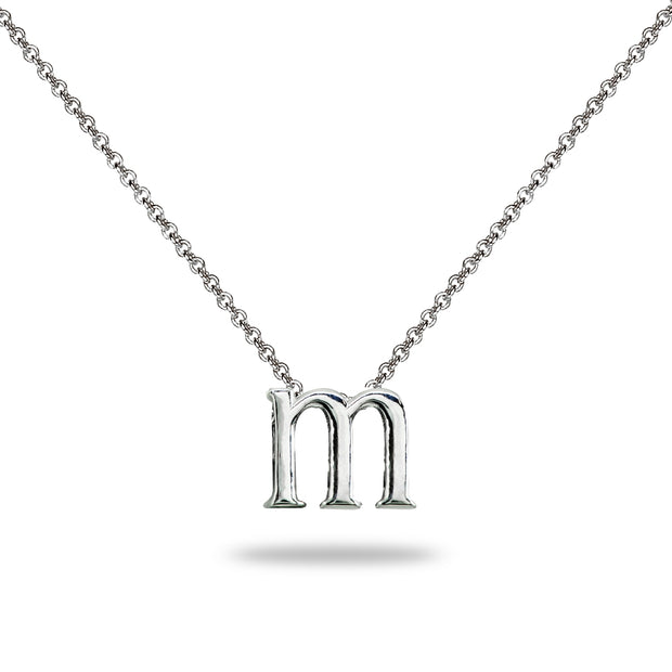 "Sterling Silver M Letter Initial Alphabet Name Personalized 925 Silver Necklace, 15"" + Extender"