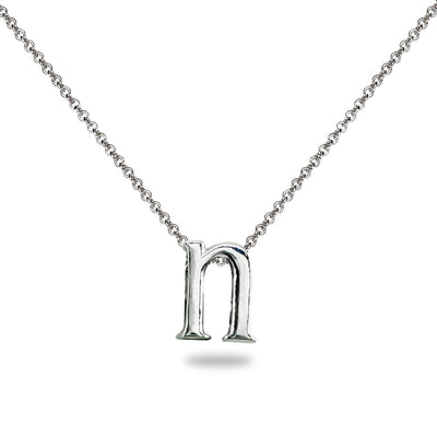 "Sterling Silver N Letter Initial Alphabet Name Personalized 925 Silver Necklace, 15"" + Extender"