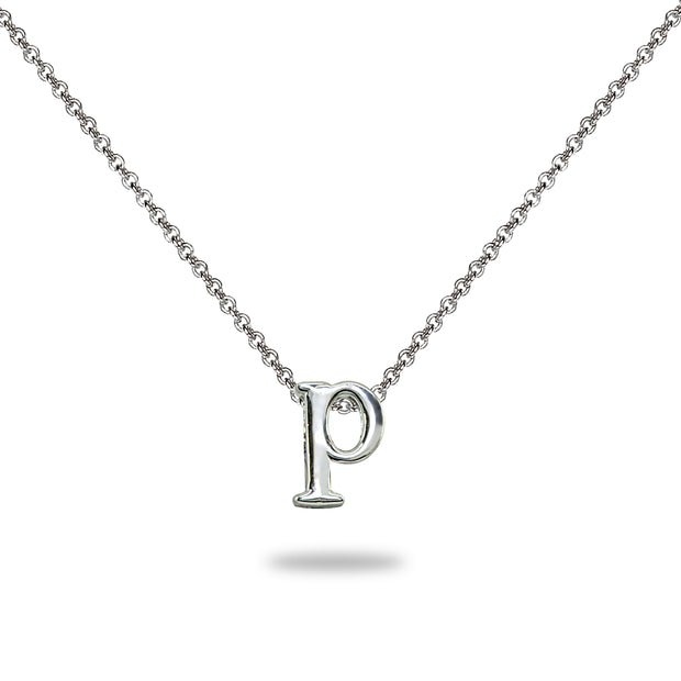 "Sterling Silver P Letter Initial Alphabet Name Personalized 925 Silver Necklace, 15"" + Extender"