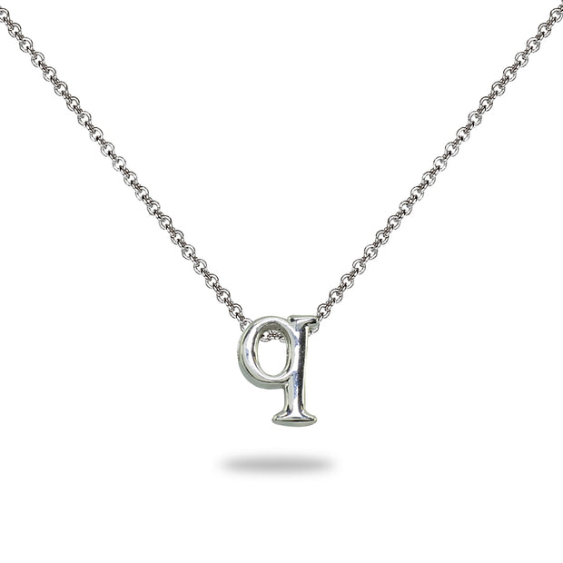 "Sterling Silver Q Letter Initial Alphabet Name Personalized 925 Silver Necklace, 15"" + Extender"