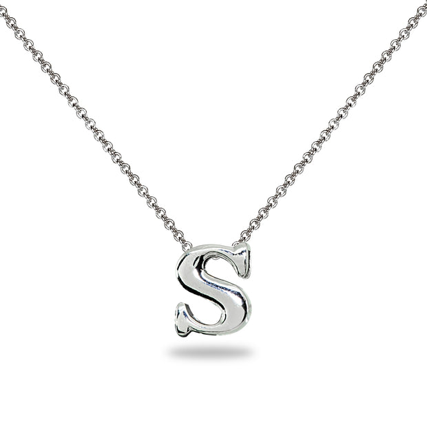 "Sterling Silver S Letter Initial Alphabet Name Personalized 925 Silver Necklace, 15"" + Extender"
