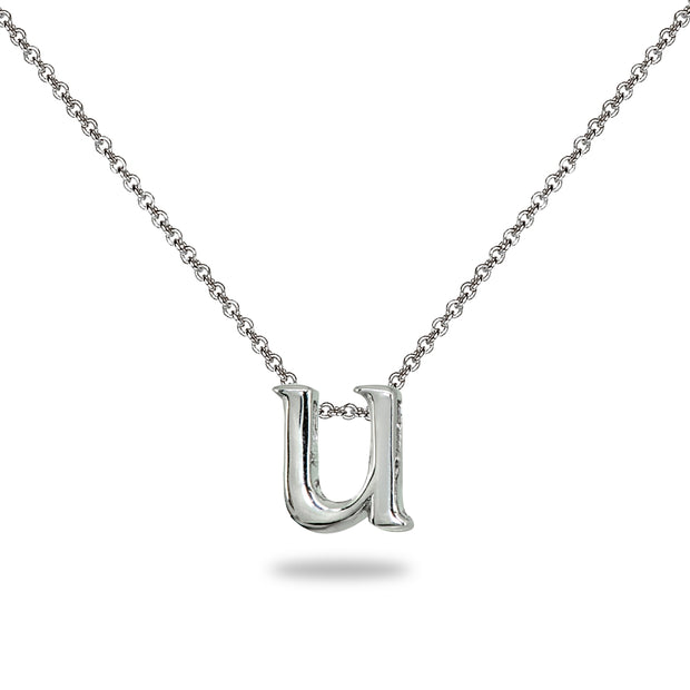 "Sterling Silver U Letter Initial Alphabet Name Personalized 925 Silver Necklace, 15"" + Extender"