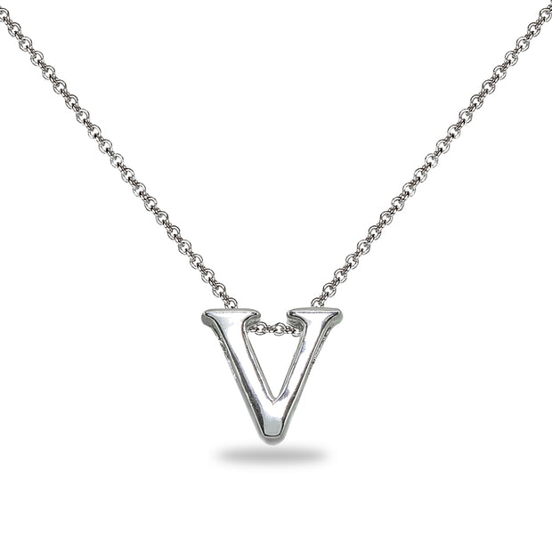 "Sterling Silver V Letter Initial Alphabet Name Personalized 925 Silver Necklace, 15"" + Extender"