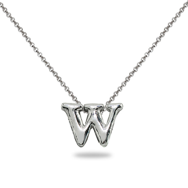 "Sterling Silver W Letter Initial Alphabet Name Personalized 925 Silver Necklace, 15"" + Extender"