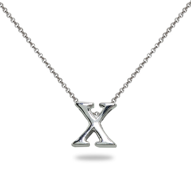 "Sterling Silver X Letter Initial Alphabet Name Personalized 925 Silver Necklace, 15"" + Extender"
