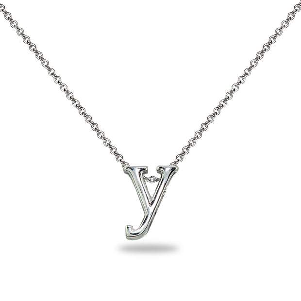 "Sterling Silver Y Letter Initial Alphabet Name Personalized 925 Silver Necklace, 15"" + Extender"