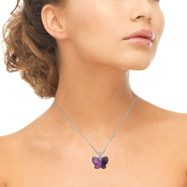 Sterling Silver Purple Butterfly Pendant Necklace Made with Swarovski Crystals