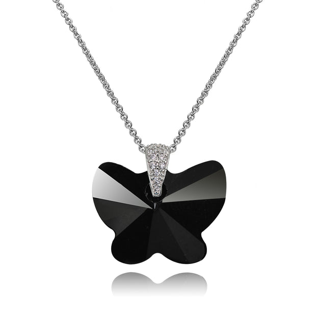 Sterling Silver Black Butterfly Pendant Necklace Made with Swarovski Crystals