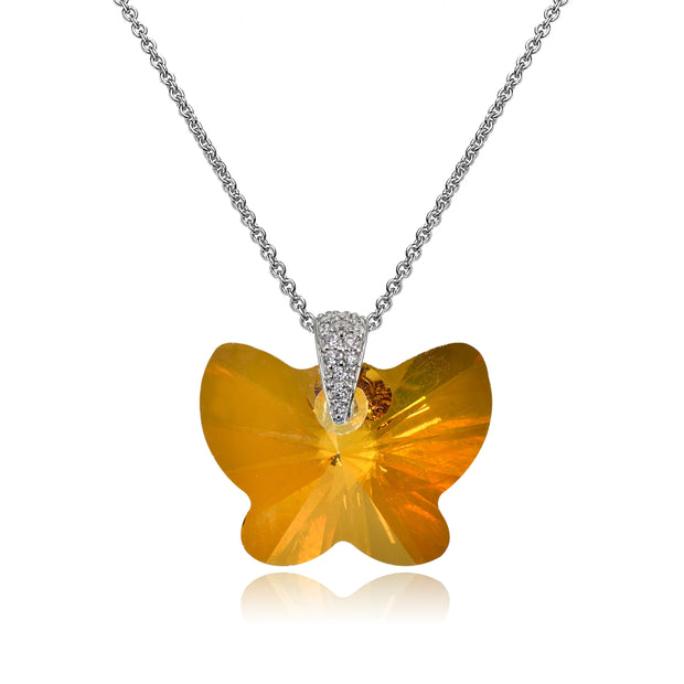 Sterling Silver Copper Butterfly Pendant Necklace Made with Swarovski Crystals