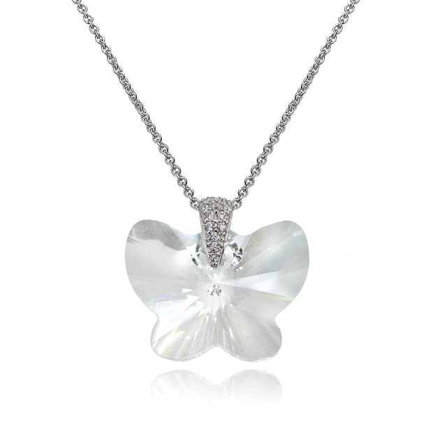 Sterling Silver Clear Butterfly Pendant Necklace Made with Swarovski Crystals