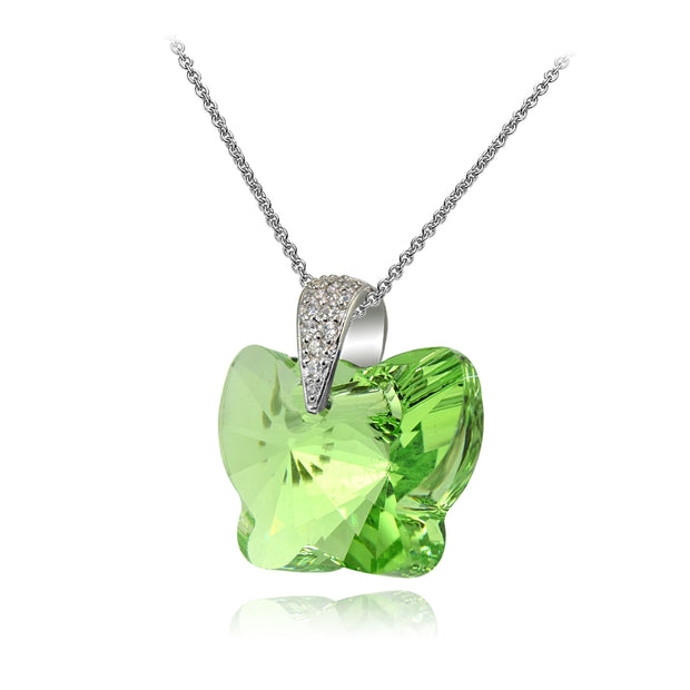 Sterling Silver Light Green Butterfly Pendant Necklace Made with Swarovski Crystals