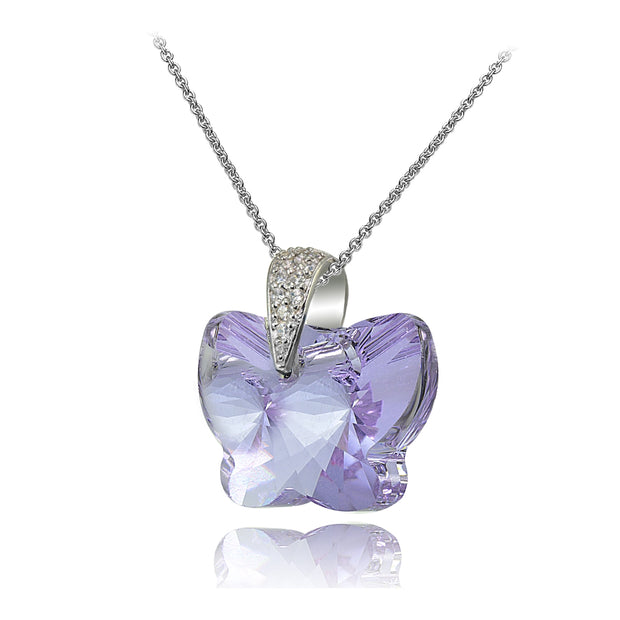 Sterling Silver Violet Butterfly Pendant Necklace Made with Swarovski Crystals