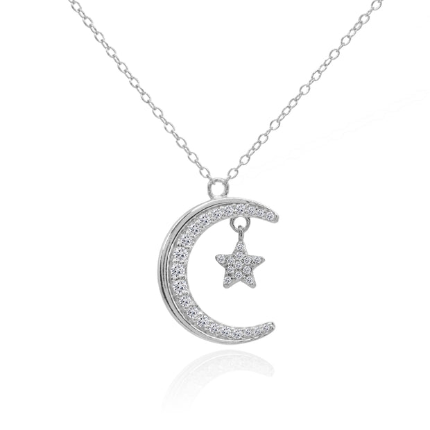 Sterling Silver Crescent Moon and Star Polished Round Cubic Zirconia Necklace