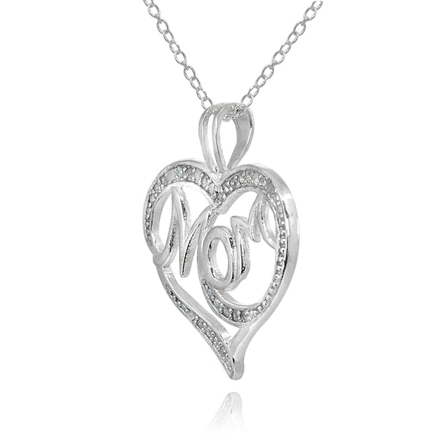 Sterling Silver Polished Heart MOM Diamond Accent Pendant Necklace, JK-I3