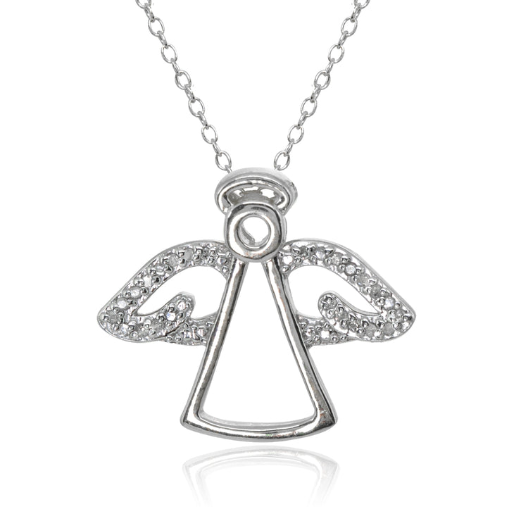 Sterling Silver Polished Angel Wings Diamond Accent Pendant Necklace, JK-I3
