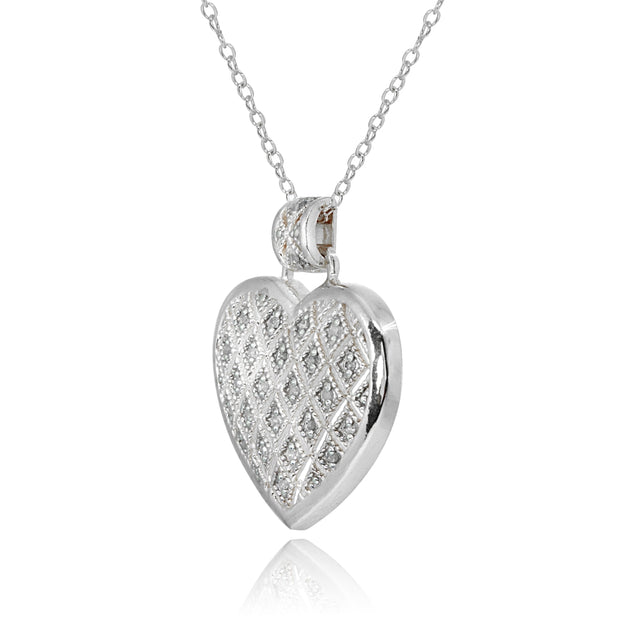 JK-I3 Sterling Silver Polished Textured Heart Diamond Accent Pendant Necklace