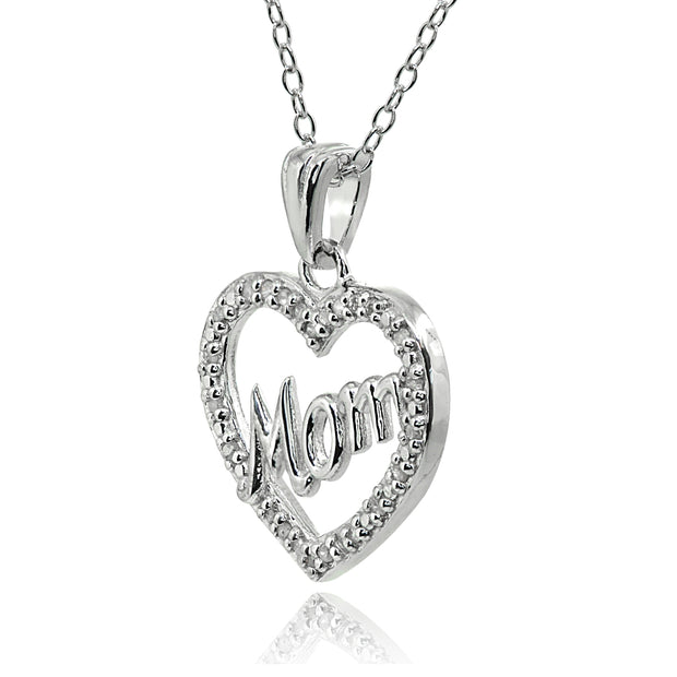 Sterling Silver Polished Open Heart Mom Diamond Accent Pendant Necklace, JK-I3