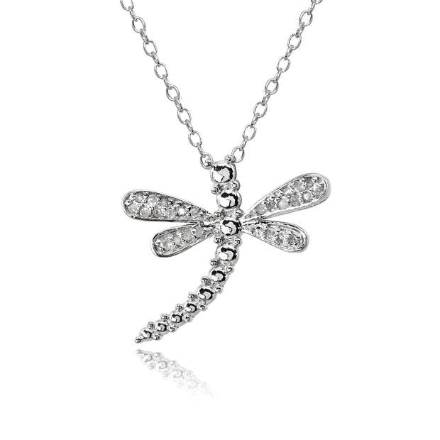 Sterling Silver Polished Dragonfly Diamond Accent Pendant Necklace, JK-I3