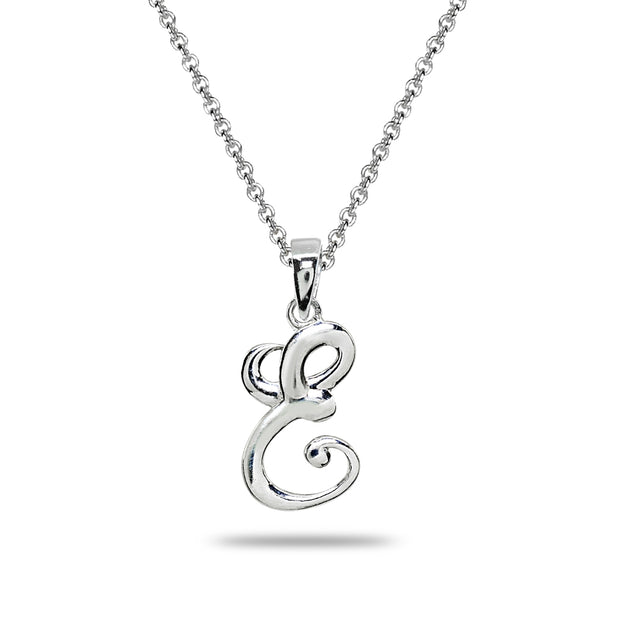 Sterling Silver E Letter Initial Alphabet Name Personalized 925 Silver Pendant Necklace