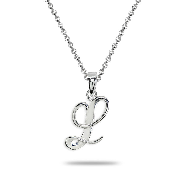 Sterling Silver L Letter Initial Alphabet Name Personalized 925 Silver Pendant Necklace