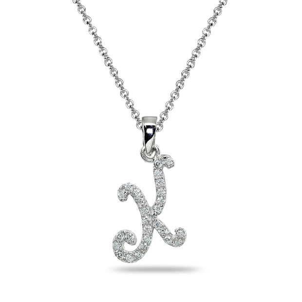 Sterling Silver Cubic Zirconia K Letter Initial Alphabet Name Personalized  Pendant Necklace