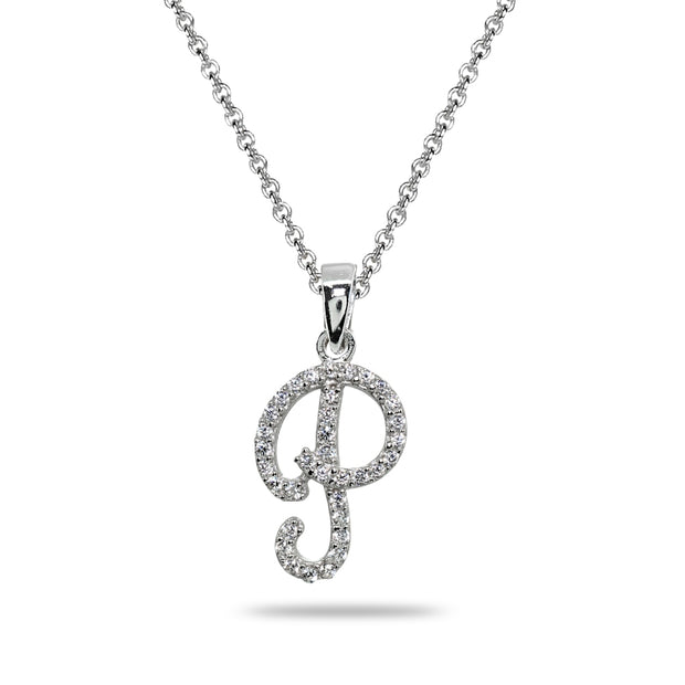 Sterling Silver Cubic Zirconia P Letter Initial Alphabet Name Personalized  Pendant Necklace