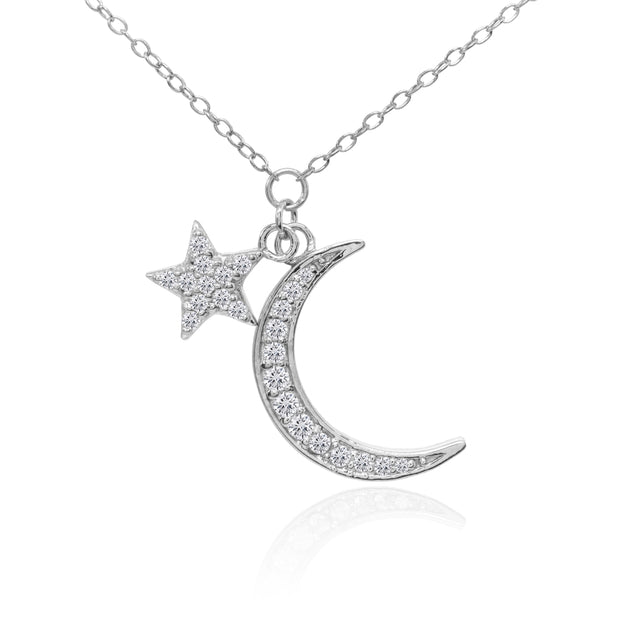 Sterling Silver Cubic Zirconia Polished Moon and Star Dainty Minimalist Necklace