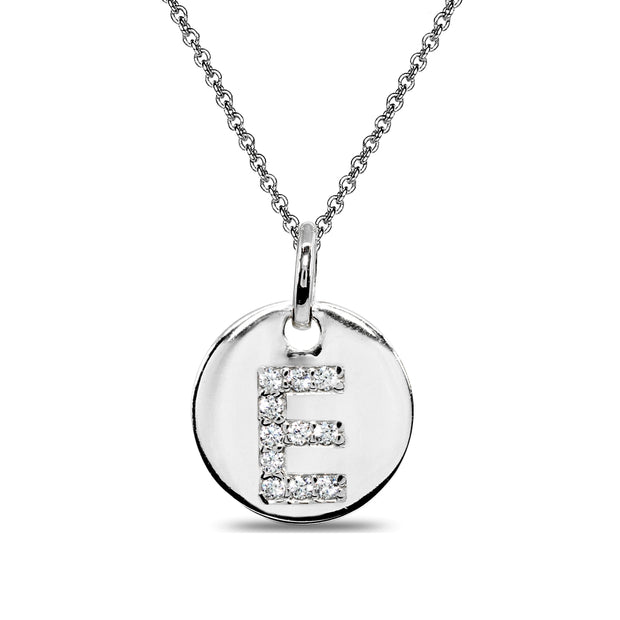 "Sterling Silver E Letter CZ Initial Alphabet Name Personalized Pendant Necklace, 15"" + Extender"