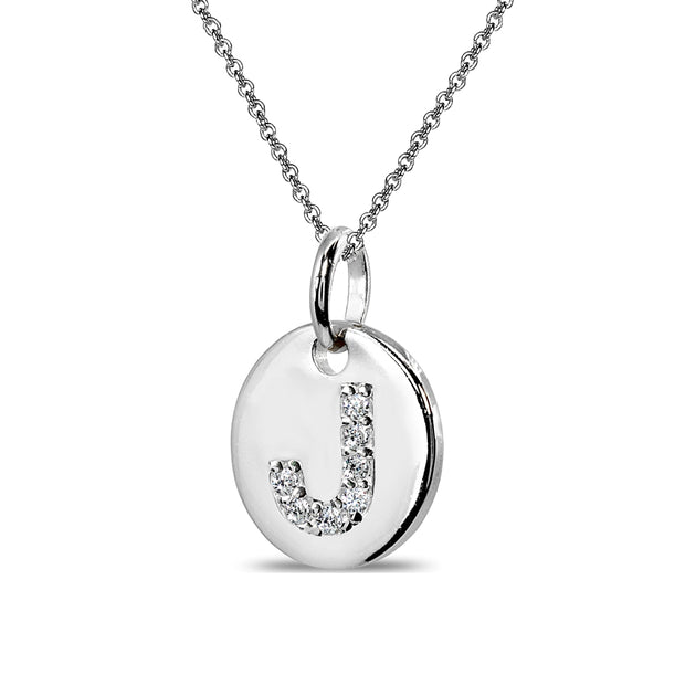 "Sterling Silver J Letter CZ Initial Alphabet Name Personalized Pendant Necklace, 15"" + Extender"