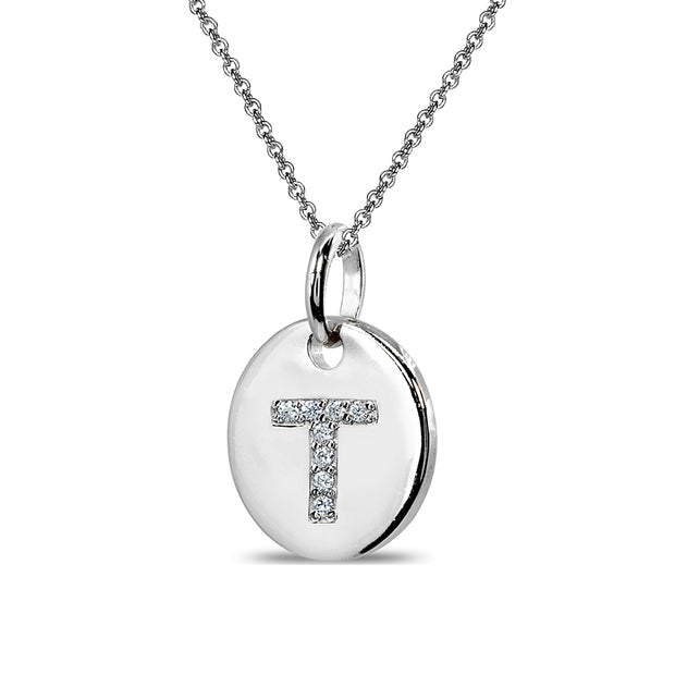 "Sterling Silver T Letter CZ Initial Alphabet Name Personalized Pendant Necklace, 15"" + Extender"
