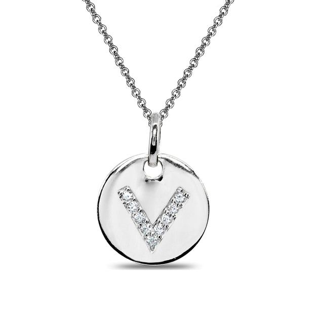 "Sterling Silver V Letter CZ Initial Alphabet Name Personalized Pendant Necklace, 15"" + Extender"