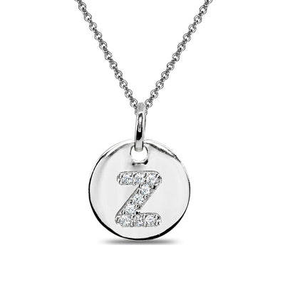 "Sterling Silver Z Letter CZ Initial Alphabet Name Personalized Pendant Necklace, 15"" + Extender"