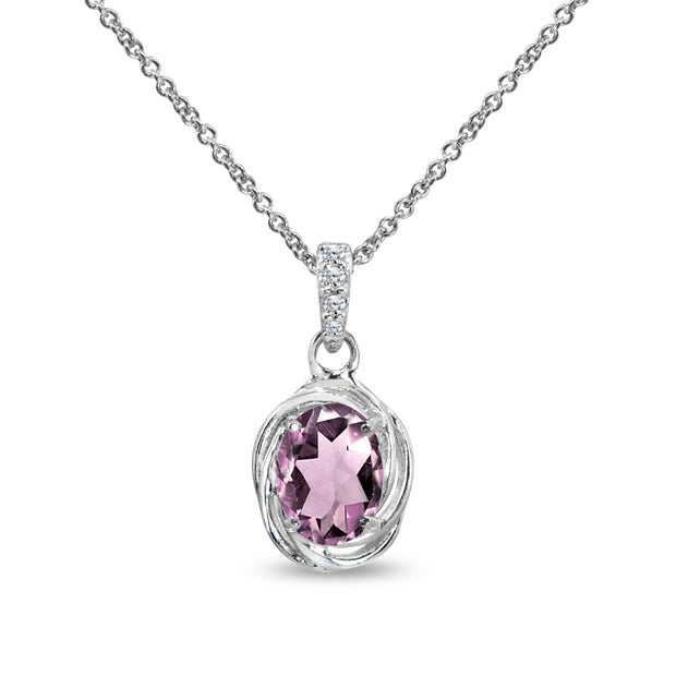 Sterling Silver Created Alexandrite & Cubic Zirconia 8x6mm Oval Love Knot Pendant Necklace
