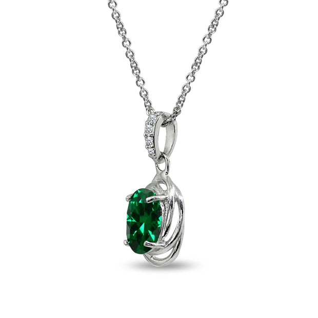 Sterling Silver Created Emerald & Cubic Zirconia 8x6mm Oval Love Knot Pendant Necklace