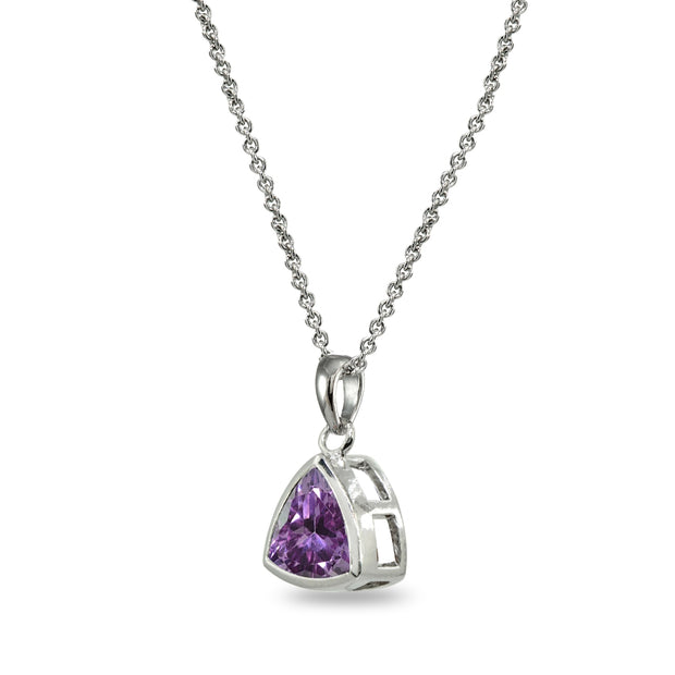 Sterling Silver Created Alexandrite 8mm Trillion Bezel-Set Pendant Necklace